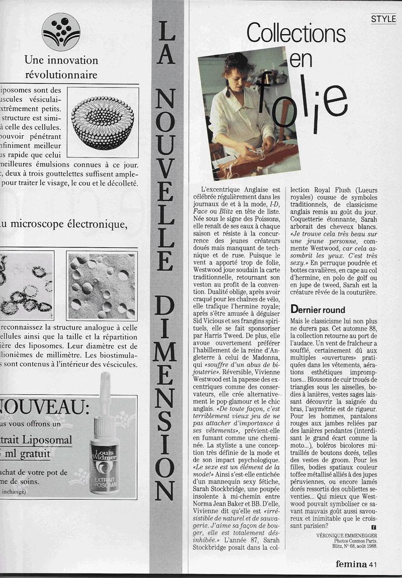 Vivienne Westwood dans Femina