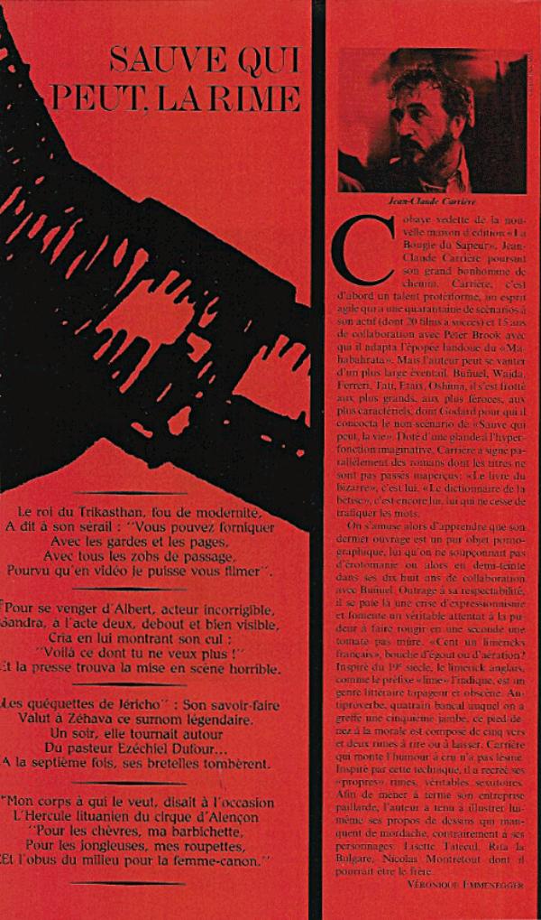 """Article sur le livre """"Cent un limericks français"""" de Jean-Claude Carrière"""