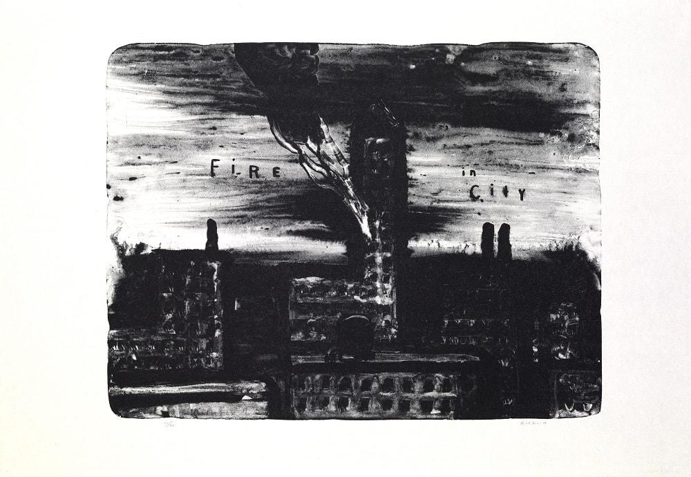 Lithographie encre noire, paysage urbain avec les mots Fire In City