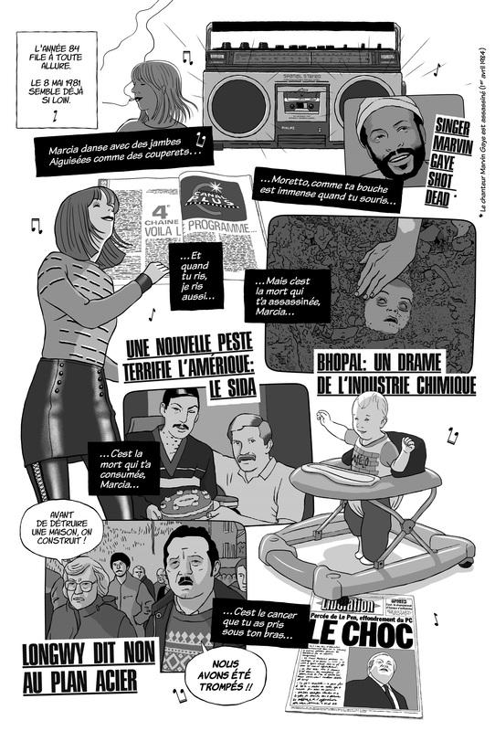 Planche d'un roman graphique sur les années 80